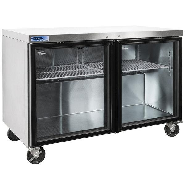 "Nor-Lake NLURG48A-015 AdvantEDGE 48"" Undercounter Refrigerator with Door Locks and Glass Doors"