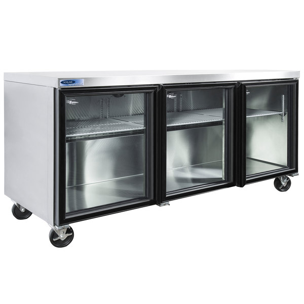 """Nor-Lake NLURG72A-014 AdvantEDGE 72"""" Undercounter Refrigerator with Low Profile Casters and Glass Doors"""