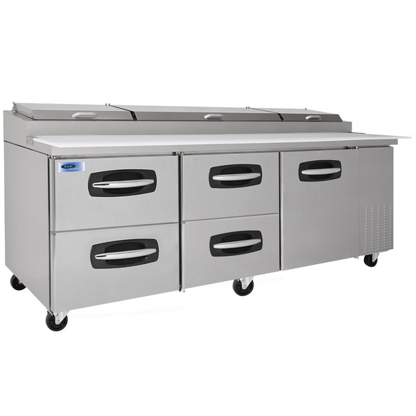 "Nor-Lake NLPT93-007 AdvantEDGE 93 3/8"" 1 Door 4 Drawer Refrigerated Pizza Prep Table"