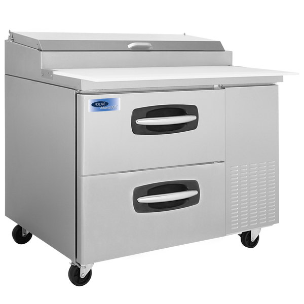 "Nor-Lake NLPT44-001 AdvantEDGE 44 1/2"" 2 Drawer Refrigerated Pizza Prep Table"