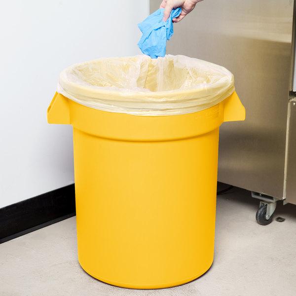 Carlisle 34102004 Bronco 20 Gallon Yellow Trash Can