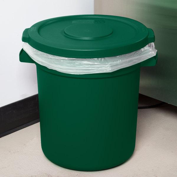 Carlisle Bronco 10 Gallon Green Trash Can with Lid