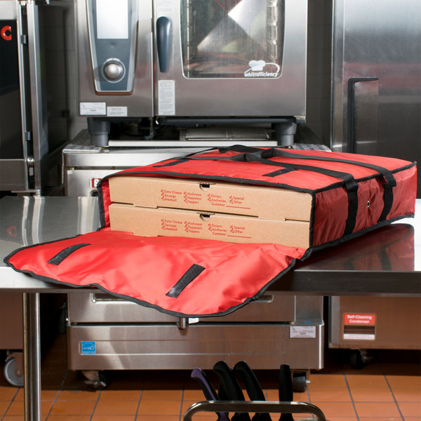"American Metalcraft PBDX2005 20"" x 20"" x 5"" Deluxe Insulated Red Pizza Delivery Bag"