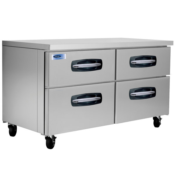 "Nor-Lake NLUR60A-001 AdvantEDGE 60"" Undercounter Refrigerator with 4 Drawers"