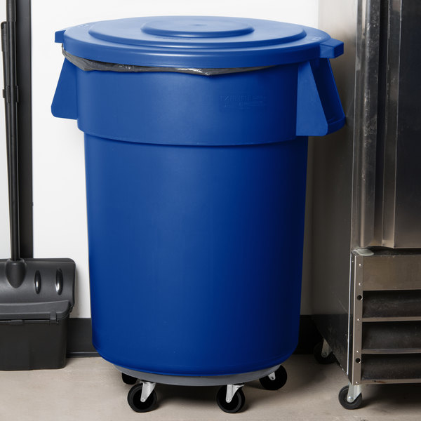 Carlisle Bronco 55 Gallon Blue Trash Can with Lid and Dolly