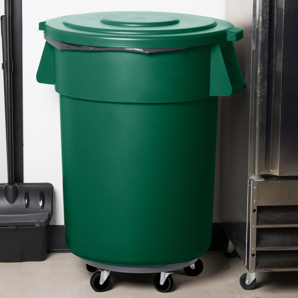 Carlisle Bronco 55 Gallon Green Trash Can with Lid and Dolly