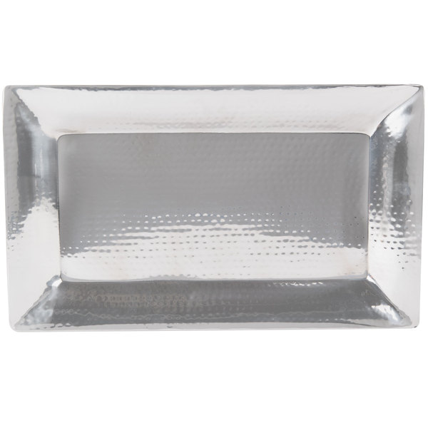 """American Metalcraft HMRT1322 22"""" x 13"""" Rectangle Hammered Stainless Steel Tray Main Image 1"""