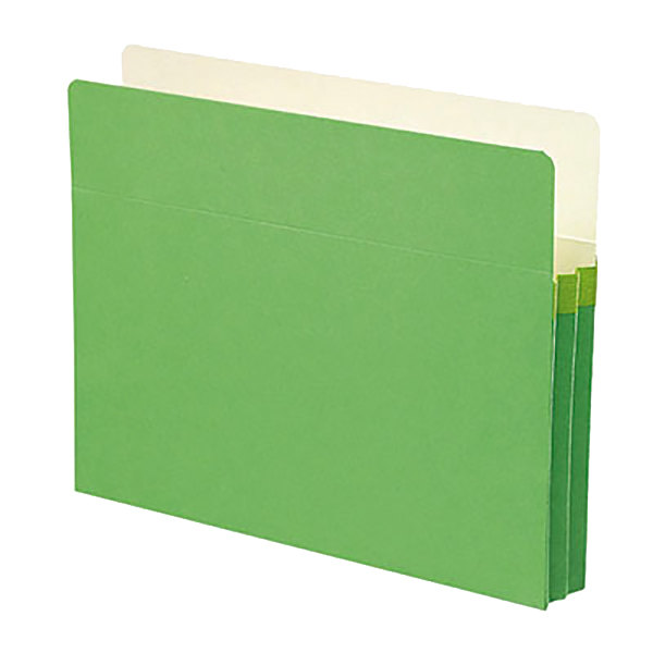"""Smead 73216 Letter Size File Pocket - 1 3/4"""" Expansion with Straight Cut Tab, Green"""