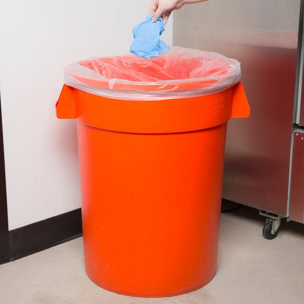Carlisle 34103224 Bronco 32 Gallon Orange Trash Can