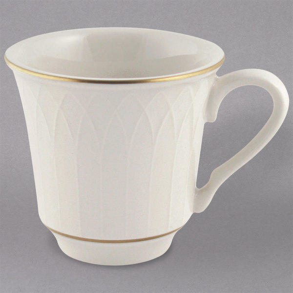 Homer Laughlin 1420-0332 Westminster Gothic Ivory (American White) 9 oz. China Mug - 36/Case