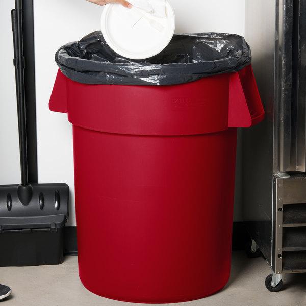 Carlisle 34105505 Bronco 55 Gallon Red Trash Can
