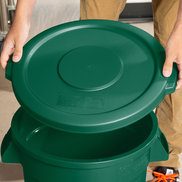 Carlisle 34101109 Bronco 10 Gallon Green Flat Trash Can Lid