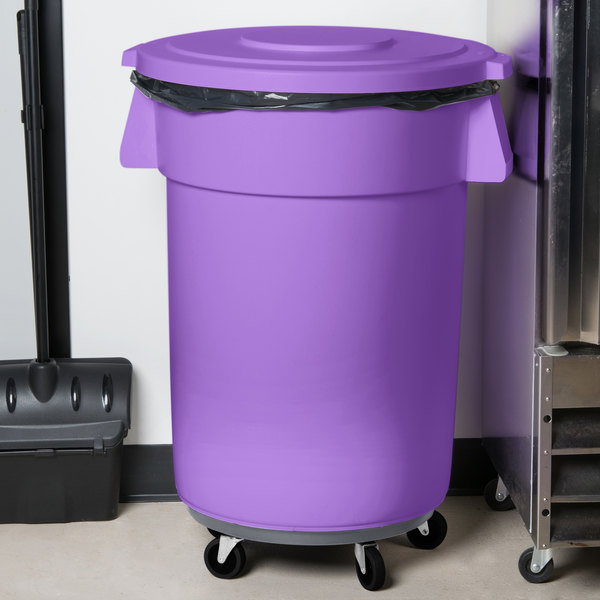 Greatest Carlisle Bronco 44 Gallon Purple Trash Can with Lid and Dolly WF44