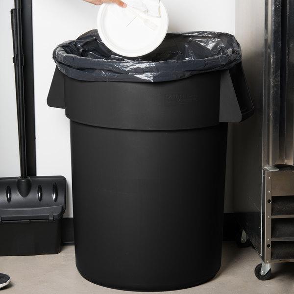 Carlisle 34105503 Bronco 55 Gallon Black Trash Can