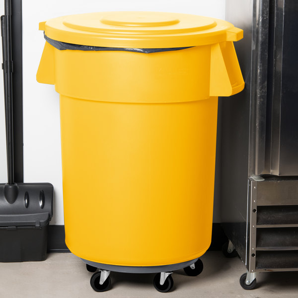 Carlisle Bronco 55 Gallon Yellow Trash Can with Lid and Dolly