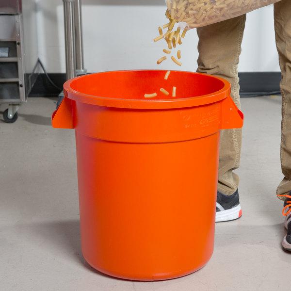 Carlisle 34101024 Bronco 10 Gallon Orange Trash Can