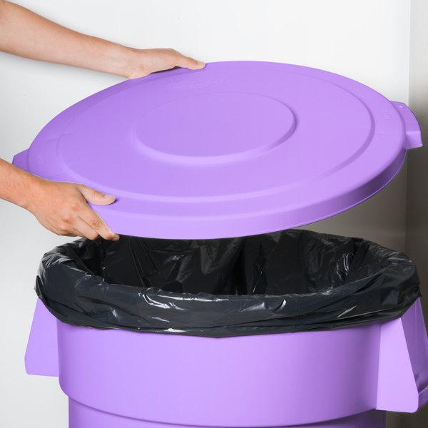 Carlisle 34104589 Bronco 44 Gallon Purple Flat Trash Can Lid