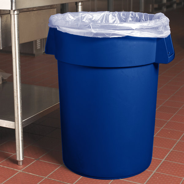 Carlisle 34104414 Bronco 44 Gallon Blue Trash Can