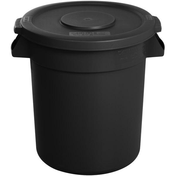 Carlisle Bronco 10 Gallon Black Trash Can With Lid