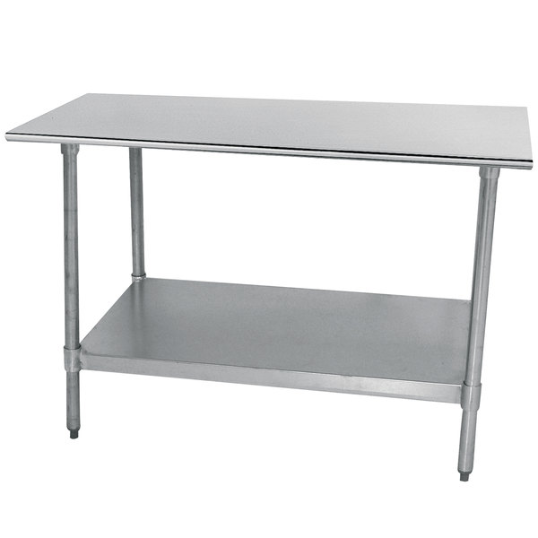 "Advance Tabco TTS-300-X 30"" x 30"" 18 Gauge Stainless Steel Commercial Work Table with Undershelf"