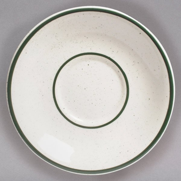 "Tuxton TES-002 Emerald 6"" Green Speckle Narrow Rim China Saucer - 36/Case"