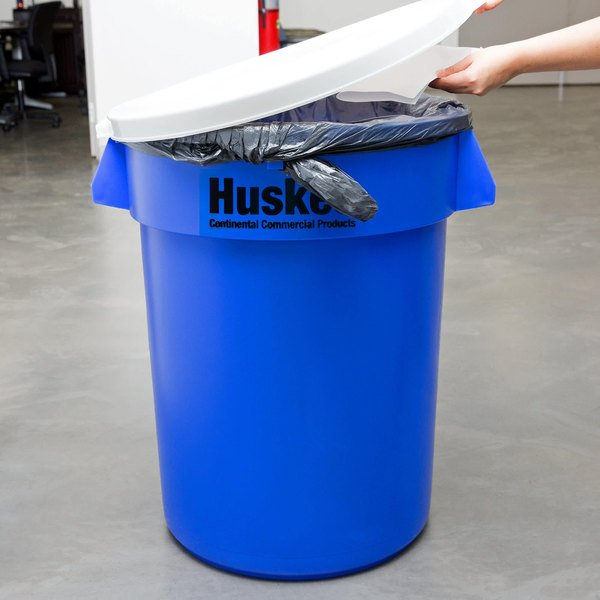 Continental Huskee 32 Gallon Blue Recycling / Trash Can with White Lid