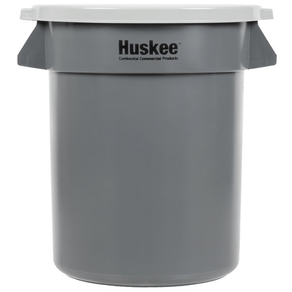 Continental Huskee 20 Gallon Gray Round Trash Can with Gray Lid