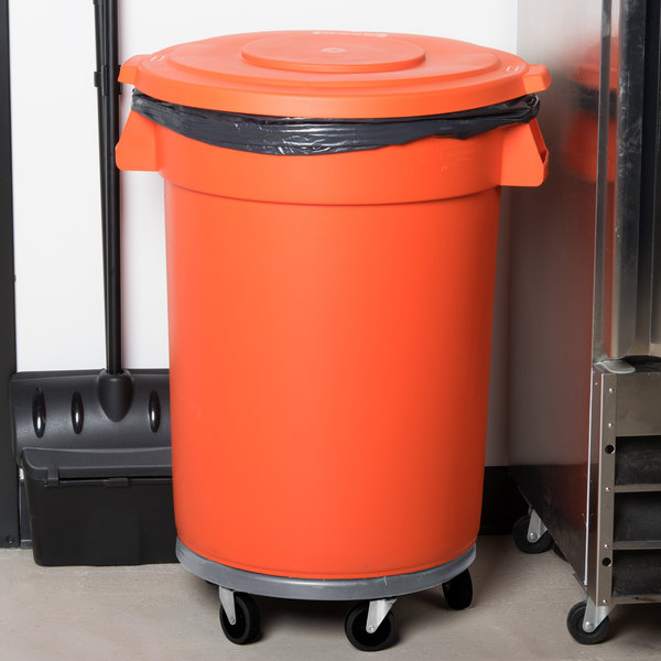 Carlisle Bronco 32 Gallon Orange Trash Can with Lid and Dolly