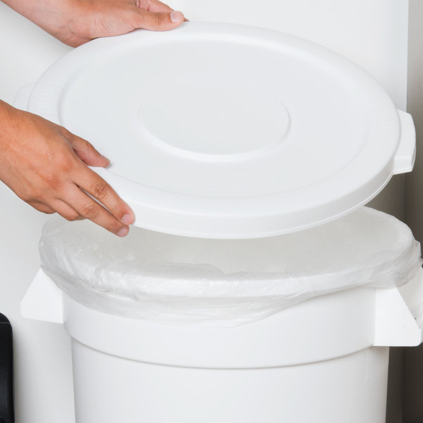 Carlisle 34101102 Bronco 10 Gallon White Flat Trash Can Lid