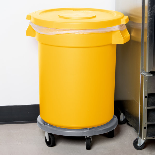Carlisle Bronco 20 Gallon Yellow Round Trash Can with Lid and Dolly Main Image 16