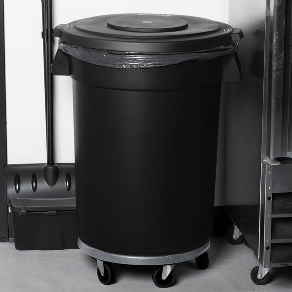 Carlisle Bronco 32 Gallon Black Trash Can with Lid and Dolly