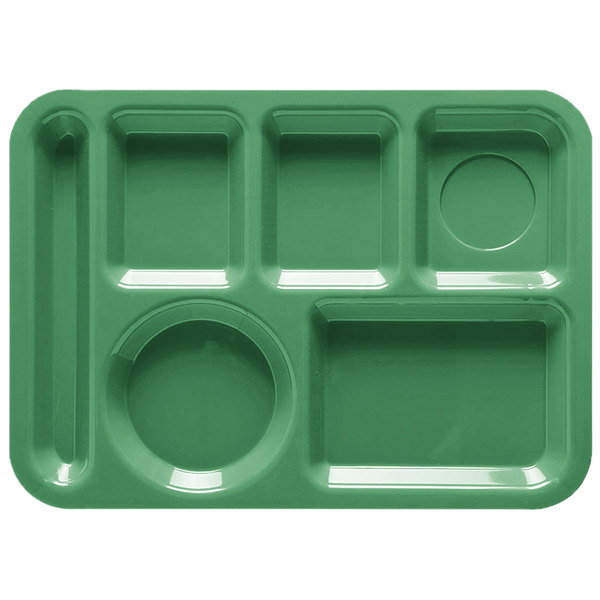 """GET TL-152 10"""" x 14"""" Rainforest Green ABS Plastic Left Hand 6 Compartment Tray - 12/Pack"""
