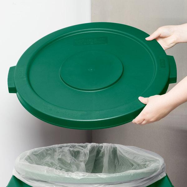Carlisle 34102109 Bronco 20 Gallon Green Flat Trash Can Lid