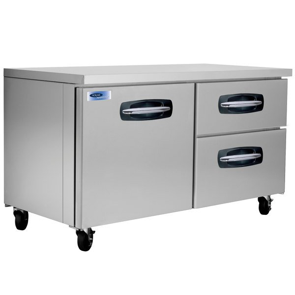 "Nor-Lake NLUR60A-002 AdvantEDGE 60"" Undercounter Refrigerator with 1 Door and 2 Right Side Drawers"