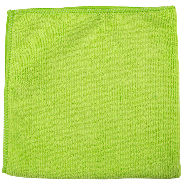 "Unger ME400 SmartColor MicroWipe 16"" x 16"" Green UltraLite Microfiber Cleaning Cloth - 10/Pack"