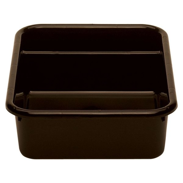 "Cambro 1621CBP131 Poly Cambox 21"" x 16"" x 5"" Dark Brown Two Compartment Polyethylene Bus Tub"