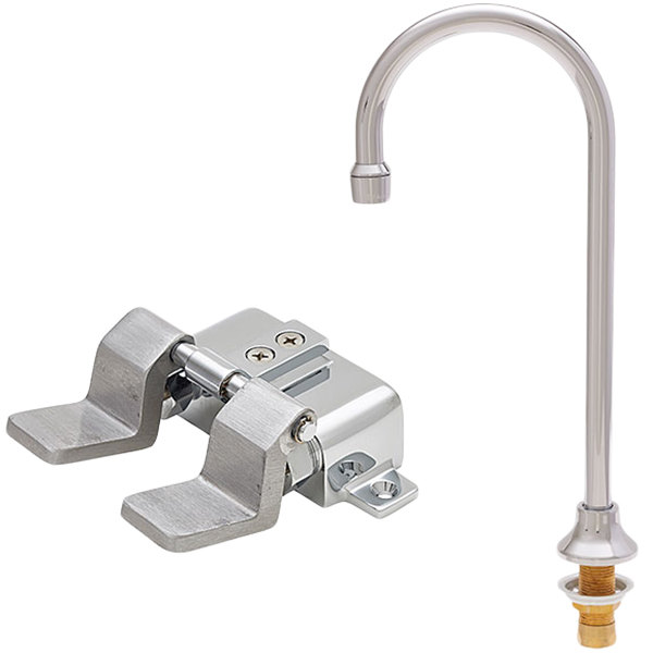 """Fisher 23248 Deck Mounted Faucet with 12"""" Rigid Gooseneck Nozzle, 2.2 GPM Aerator, and Floor Foot Pedals"""