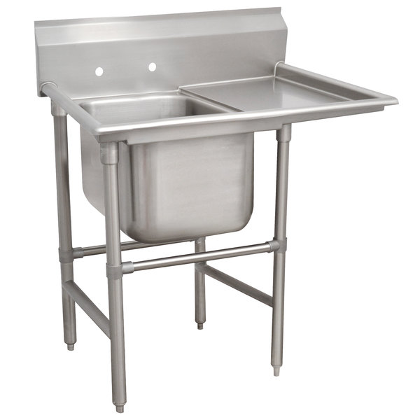 Right Drainboard Advance Tabco 94-61-18-24 Spec Line One Compartment Pot Sink with One Drainboard - 48""