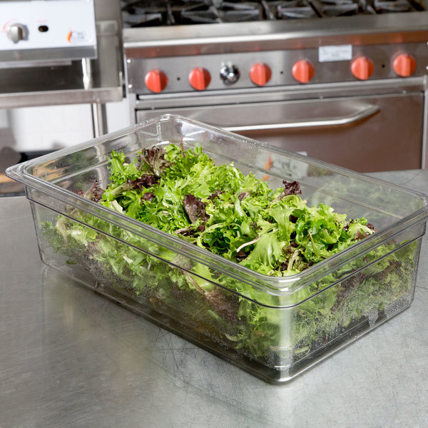 """Cambro 15CLRCW135 Camwear Full Size Clear Polycarbonate Colander Pan - 5"""" Deep Main Image 3"""