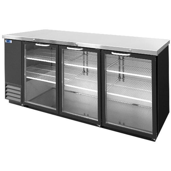 "Nor-Lake NLBB79G 80 3/4"" Black Glass Door Back Bar Refrigerator"