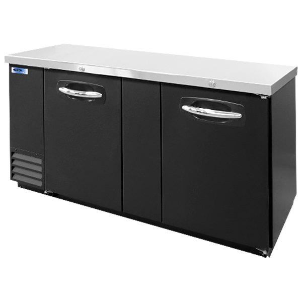 "Nor-Lake NLBB69 69 1/8"" Black Solid Door Back Bar Refrigerator Main Image 1"