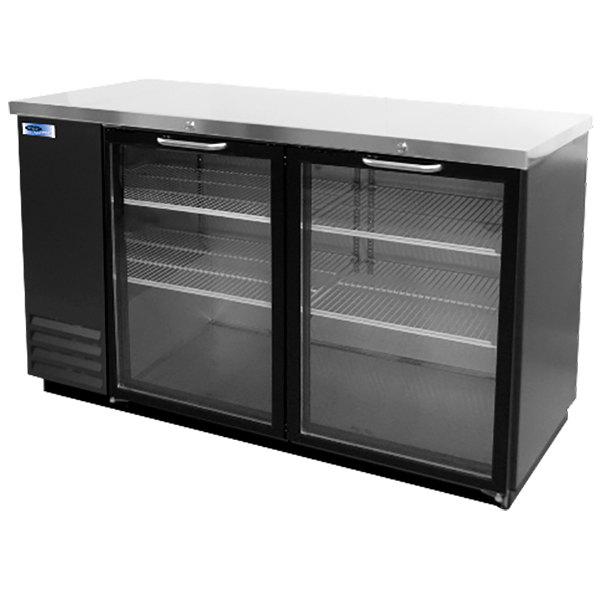"Nor-Lake NLBB59G 59"" Black Glass Door Back Bar Refrigerator Main Image 1"