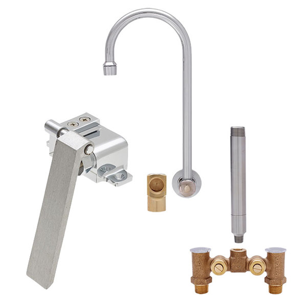 "Fisher 22950 Backsplash Mounted Faucet with Temperature Control Valve, 12"" Rigid Gooseneck Nozzle, 2.2 GPM Aerator, Knee Valve, and Elbow"