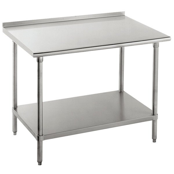 """Advance Tabco FMG-242 24"""" x 24"""" 16 Gauge Stainless Steel Commercial Work Table with Undershelf and 1 1/2"""" Backsplash"""