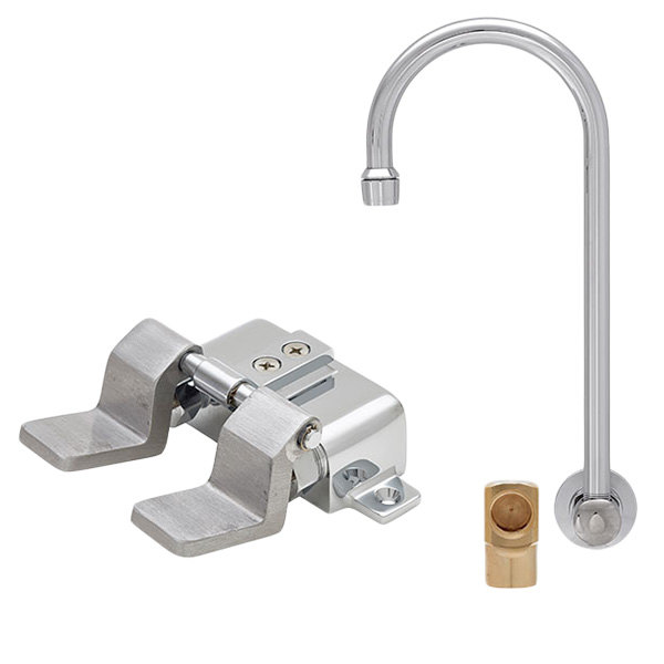 """Fisher 23078 Backsplash Mounted Faucet with 12"""" Rigid Gooseneck Nozzle, 2.2 GPM Aerator, Floor Foot Pedals, and Elbow Main Image 1"""