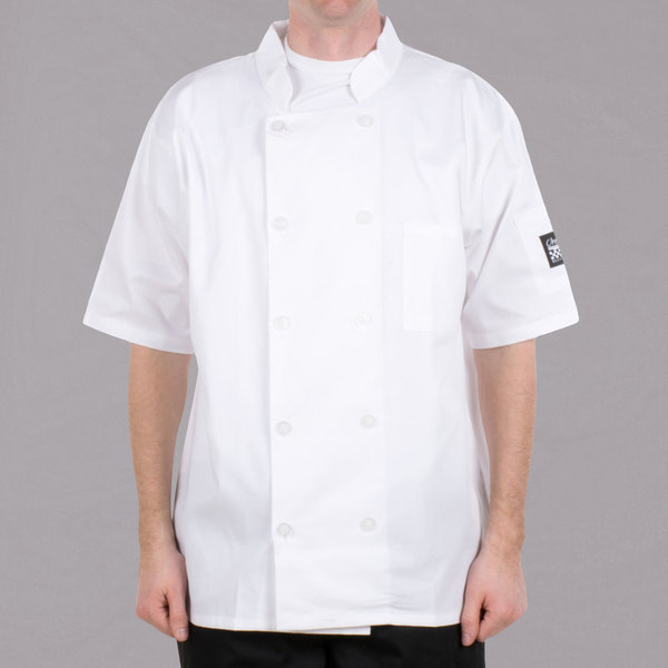 Chef Revival Bronze J105-3X Size 56 (3X) Customizable White Short Sleeve Double-Breasted Chef Coat - Poly-Cotton Blend