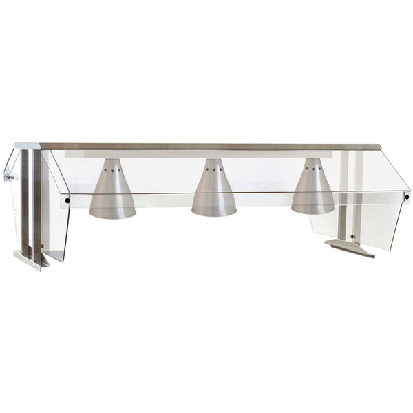 """Eagle Group BS2-HT3-IL Stainless Steel Buffet Shelf with Double Sneeze Guard and Infrared Lamps - 48"""" x 36 1/4"""" Main Image 1"""