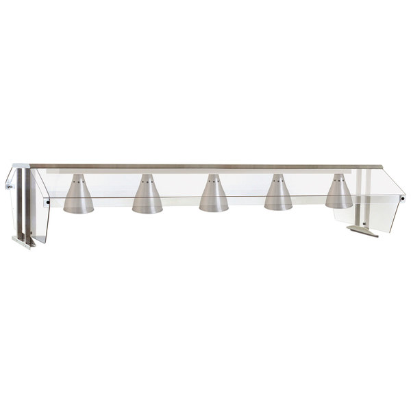 "Eagle Group BS2-HT5-IL Stainless Steel Buffet Shelf with Double Sneeze Guard and Infrared Lamps - 79"" x 36 1/4"""