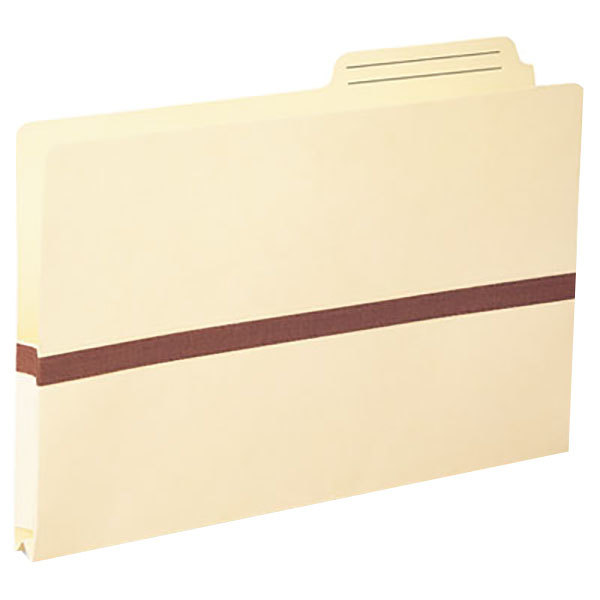 """Smead 76487 Legal Size Tyvek® Reinforced File Pocket - 1"""" Expansion with Printed 2/5 Cut Right Position Tab, Manila"""