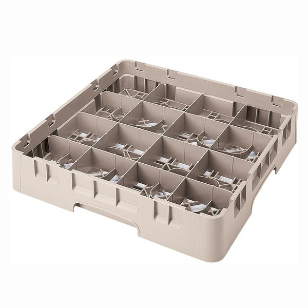 "Cambro 16S434184 Camrack 5 1/4"" High Customizable Beige 16 Compartment Glass Rack Main Image 1"